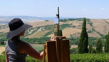 painting en plein-air at La Foce, Tuscany