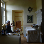 a cold morning painting in the Borgo breakfast room, Tuscany